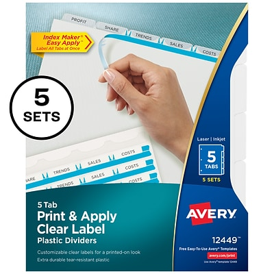 Avery Print & Apply Clear Label Translucent Plastic Dividers, Index Maker, 5 Frosted Tabs, 5 Sets (12449)