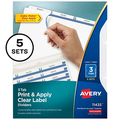 Avery 3 Tab Dividers, White, 5/Pack (11435)