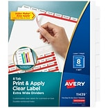 Avery Print & Apply Clear Label Extra-Wide Dividers, Index Maker Easy Apply Printable Label Strip, 8
