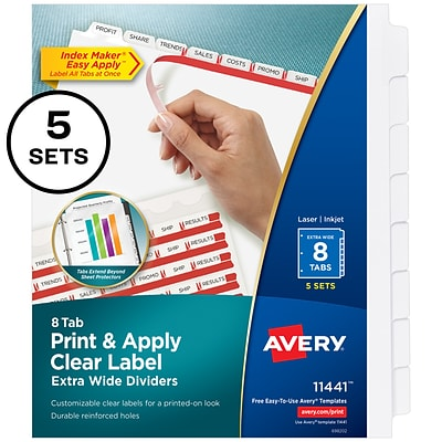 Avery(R) Index Maker(R) Extra-Wide Clear Label Dividers 11441, 8-Tabs, 5 Sets, White