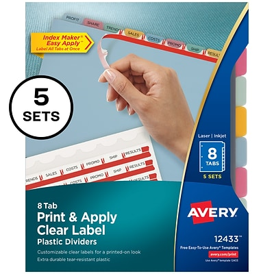 Avery Index Maker Print & Apply Label Plastic Dividers, 8-Tab, Multicolor, 5 Sets/Pack (12433)