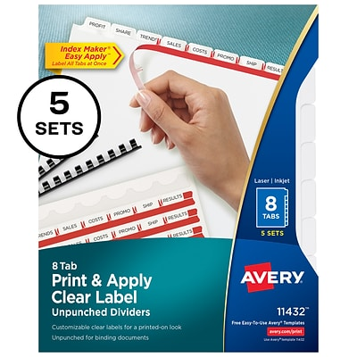 Avery Index Maker Print and Apply Label Dividers, 8-Tab, White, 5 Sets/Box (11432)