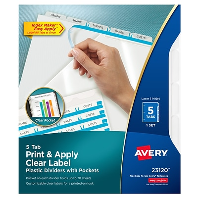 Avery Index Maker Print & Apply Dividers, 5-Tab, Clear (23120)