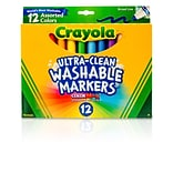 Crayola Washable Markers, Broad Tip, Assorted Colors, 12/Pk