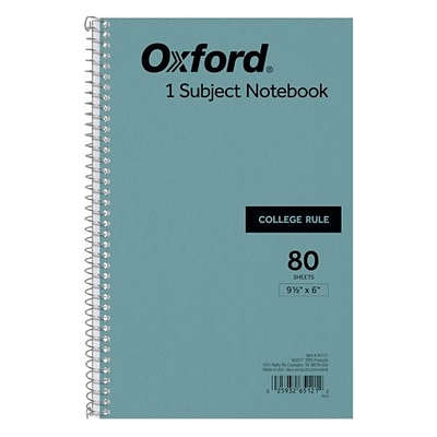 Tops® Spiral-Bound Notebooks, 9-1/2x6, College Ruled, White, Punched, 80 Sheets/Pad