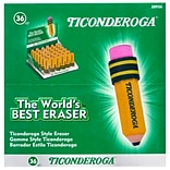 Ticonderoga Pencil Shaped Erasers, 36/Pack (38936)