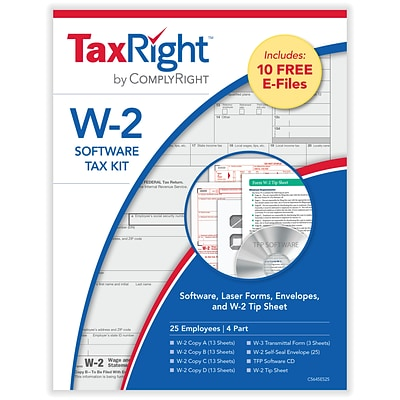 TaxRight W2 with self-seal envelopes and software with 5 Free EFILE, 4-Part for 25 Employees (SC5645ES25)