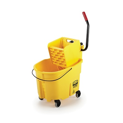 Rubbermaid WaveBrake® 2.0 Janitorial Side-Press Bucket and Wringer 35 Quart , Yellow (FG758088YEL)