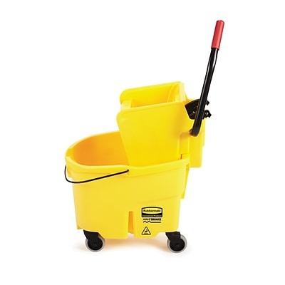 Rubbermaid WaveBrake® 2.0 Janitorial Side-Press Bucket and Wringer, 26 Quart, Yellow (FG748000YEL)
