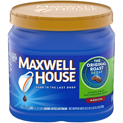 Maxwell House® Original Roast Decaf Ground Coffee, Medium Roast, Decaffeinated, 29.3 oz. Canister (02942)