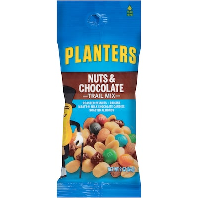 Planters® Nuts & Chocolate Trail Mix, 2 oz. Bags, 72/Carton (GEN00270)