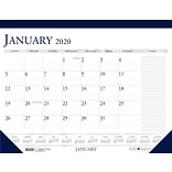 2020 House of Doolittle, 18.5 x 13, Monthly Desk Pad Calendar Classic With Notes Section, Blue (HO