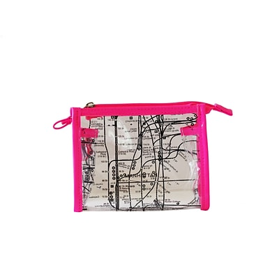 New York City Subwayline Clear Map Cosmetics Case, Pink