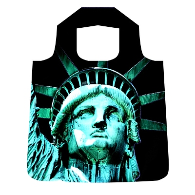 New York City Subwayline Statue of Liberty Black Shoppers Tote