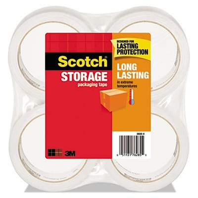 Scotch® Moving and Storage Tape, Clear, 1.88x54.6Yd, 4 Rolls/Pack