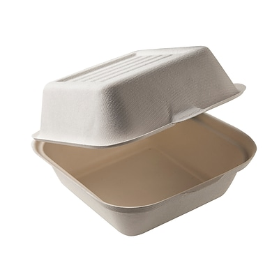 BioGreenChoice Compostable Fiber/Bagasse Burger Box Container; Off White, 6L x 6W x 3H, 500/Case
