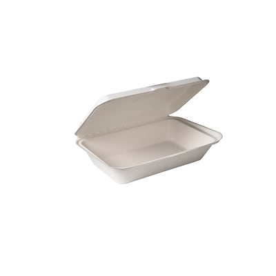 BioGreenChoice Compostable Fiber/Bagasse Hoagie Container; Off White, 9L x 6W x 2.5H, 500/Case