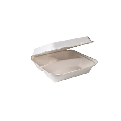 BioGreenChoice Compostable Fiber/Bagasse 3 Compart Container; Off White, 9L x 9W x 3H, 300/Case