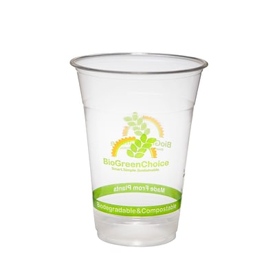 BioGreenChoice 16 oz. Clear Compostable PLA Cold Cup; 1000/CS