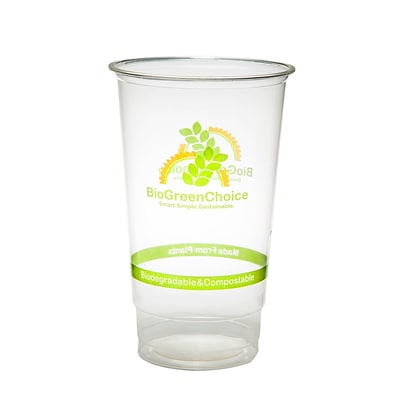 BioGreenChoice 24 oz. Clear Design Compostable PLA Cold Cup; 1000/Case