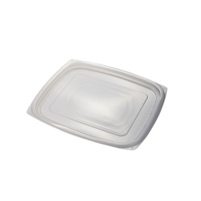 BioGreenChoice 24/32 oz. Clear Compostable PLA Rectangle Deli Lid; 600/Case