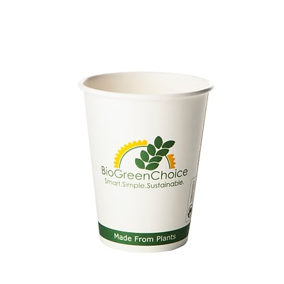 BioGreenChoice 12 oz. Compostable Hot Paper Cup w/Bio Lining, 1000/CS