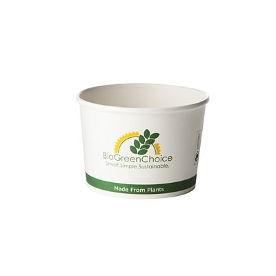 BioGreenChoice 8 oz. Design Compostable Hot Paper Bowl w/Bio Lining; 1000/Case