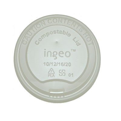 BioGreenChoice 10-20 oz. White Compostable Hot Paper Cup Lid; 1000/Case