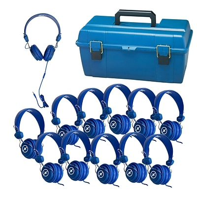 Hamilton Buhl (LCP-12FVBL) Lab Pack 12 Blue Favoritz™ Headsets with In-Line Microphone and TRRS Plug in a Small Carry Case