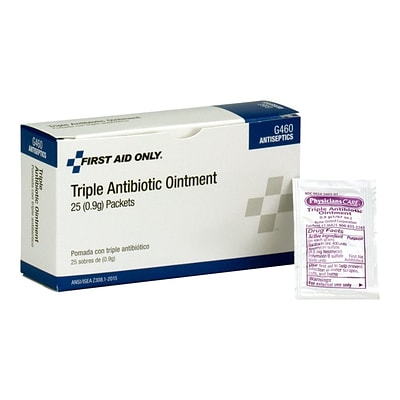 First Aid Only Triple Antibiotic Ointment Packets, 0.03 oz., 25/Box (G460)