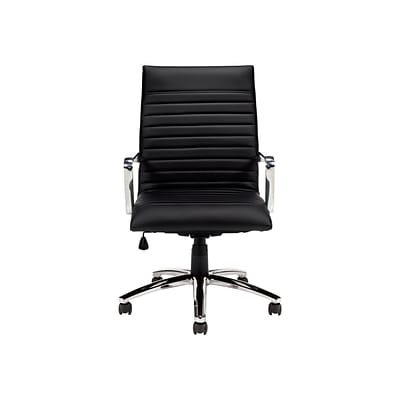 Offices To Go® Luxhide® Exec Chair w/Arms, Bonded Leather, Black, Seat: 21x17.5, Back: 20 21