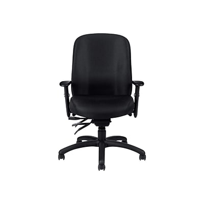 Offices To Go® Multi-Function Chair with Arms, Fabric, Black, Seat: 19 1/2Wx18D, Back: 19Wx21H