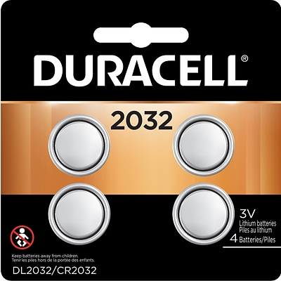 Duracell 2032 3V Lithium Coin Battery, 4/Pack (DL2032B4PK05)