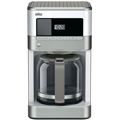 BRAUN BrewSense 12 Cups Automatic Drip Coffee Maker, White (KF6050 WH)