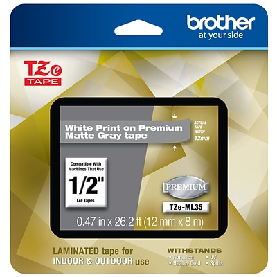 Brother P-touch TZe-ML35 Laminated Tape, 1/2, White Print on Premium Matte Gray