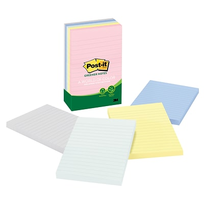 Post-it® Recycled Notes, 4 x 6, Helsinki Collection, Lined, 5 Pads/Pack (6605PKRPA)