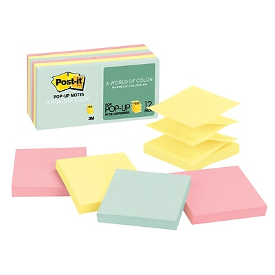 Post-it® Pop-Up Notes, 3 x 3, Marseille Collection, 12 Pads/Pack (R33012AP)