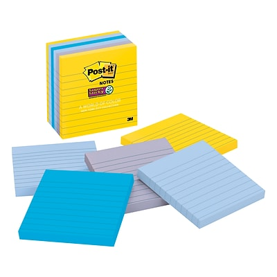 Post-it® Super Sticky Notes, 4 x 4, New York Collection, 6 Pads/Pack (675-6SSNY)