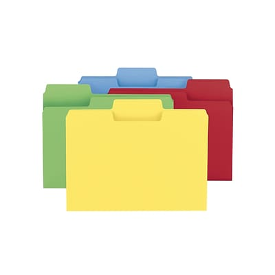 Smead SuperTab File Folder, Oversized 1/3-Cut Tab, Letter Size, Assorted Colors, 100/Box (11987)