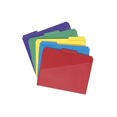 Smead Poly File Folder with Slash Pocket, 1/3-Cut Tab, Letter Size, Assorted Colors, 30/Box (10540)