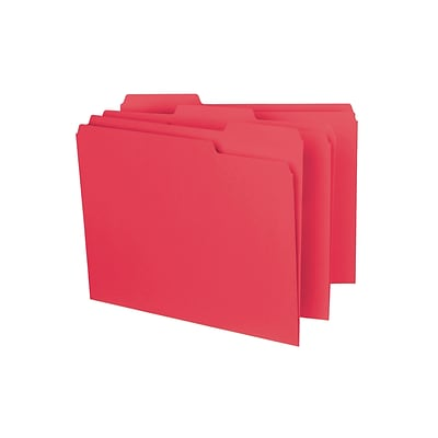Smead Interior File Folder, 1/3-Cut Tab, Letter Size, Red, 100/Box (10267)