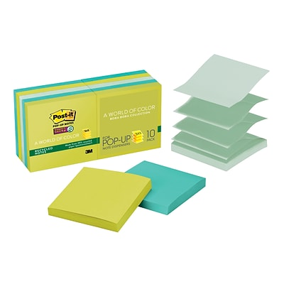 Post-it® Super Sticky Pop-up Notes, 3 x 3, Bora Bora Collection, 90 Sheets/Pad, 10 Pads/Pack (R330-10SST)
