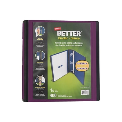 Staples 1.5 3-Ring Better Binder, Plum (22164-US)