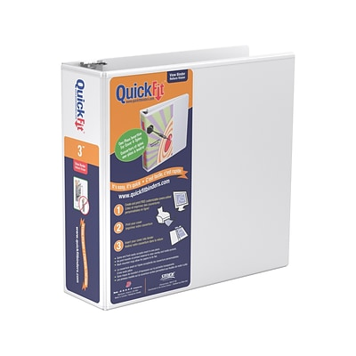 QuickFit 3 3-Ring View Binder, White (87050)
