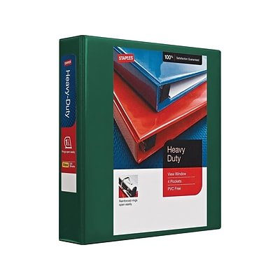 Quill Heavy-Duty 1.5 3-Ring Legal Binder, Green (24682-US)