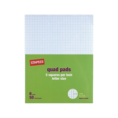 Staples® Graph Pads, 8.5 x 11, Graph, White, 50 Sheets/Pad, 6 Pads/Pack (35706/18607STP)