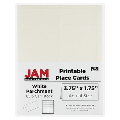 JAM Paper® Printable Place Cards, 1.75 x 3.75, White Placecards, 12/pack (2225916894)