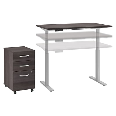 Bush Business Furniture Move 60 Series 48Wx30D Height Adjustable Desk w/ Storage, Storm Gray/Cool Gray, Installed (M6S010SGSUFA)