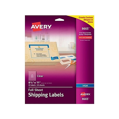 Avery Inkjet Shipping Labels, 8 1/2 x 11, Clear, 1/Sheet, 25 Sheets/Pack (8665)
