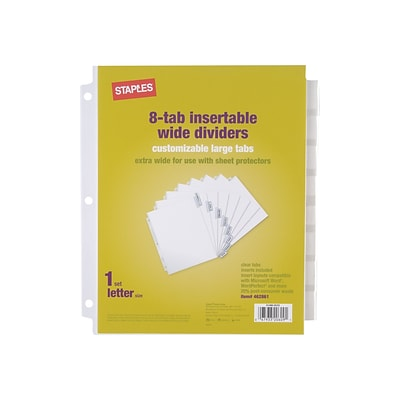 Staples Large Tabs Extra Wide Insertable Paper Dividers, 8-Tab, White (13495/11223)